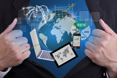 Businessman open wolrd of technology