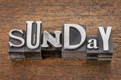 Sunday in metal type