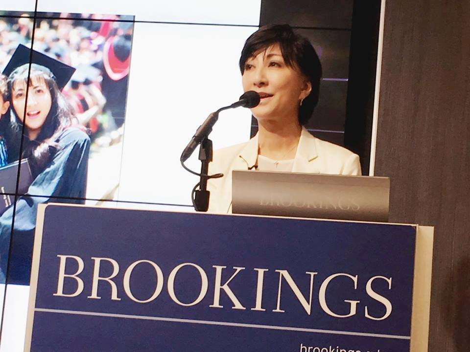 Fujiyo Ishiguro speaking at the Brookings Institute